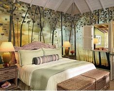 Relaxing and Romantic Bedroom Decoration Ideas - Page 34 of 34 Wallpaper Wall, Painted Wallpaper, Wallpaper Borders, Countryside Style, Romantic Bedroom Decor, Tree Wall Murals, Open Wall, Cleaning Walls, Extra Rooms