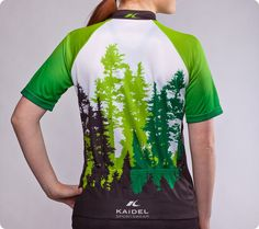 Pacific Northwest Cycling Jersey – Mt. Rainier and Ferry - Women's Green - back