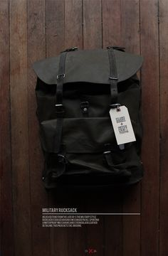 Black  Black. Illustration. Wooden. Dark. Military. Rucksack. Modern. Fresh. Tough. Rugged.