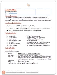 Attractive resume format for freshers doc file download