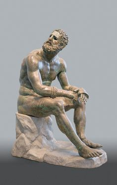 Greek Statue of a Seated Boxer (Terme Boxer), bronze with copper inlays, third century BC. Museo Nazionale Romano di Palazzo Massimo, Rome.