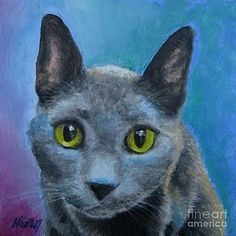 Kittens Painting - Russian Blue by Jindra Noewi