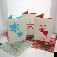 Five Paper Cut Christmas Cards £6.00 from Cat Ingall Cards