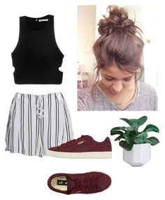 """""""Untitled #14"""" by dmelife ❤ liked on Polyvore featuring T By Alexander Wang, WithChic, Puma and stripedshirt"""