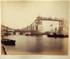 London - Vintage Tower Bridge photo.  Rare photo taken during bridge construction. London, England, 1892.