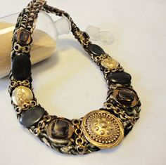 Collar botones vintage collar con cabuchon collar por AzzurroTerra