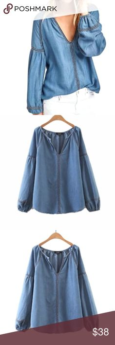 """Easy Denim Tunic TOP Longsleeve Relaxed Fir BRAND NEW!! An easy choice for any day, this collarless tunic shirt offers a relaxed cut of denim in a medium-blue shade with contrast stitch detail.   S: Bust: 38.2""""/Length: 26.8"""" M: Bust: 39.8""""/Length: 27.2"""" L: Bust: 42.4""""/Length: 27.8"""" XL: Bust: 43.8""""/Length: 28.6""""  🌟🌟This item is brand new, direct from the manufacturer, and sealed in package.🌟🌟 austin gal Tops Tunics"""