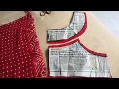 designer blouse cutting with professional style Saree Blouse Neck Designs, Fancy Blouse Designs, Kurti Neck Designs, Dress Neck Designs, Sari Design, Frock Design, Girls Dresses Sewing, Dress Sewing Patterns, Designer Kurtis