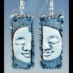 Black and White Pierced Earrings with Buddha Face by Amy Crawley