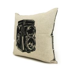 Photo camera pillow - Decorative throw pillows - Urban art - Pillow cover 16x16 - Antique camera print in black and natural beige canvas on Etsy, $38.95