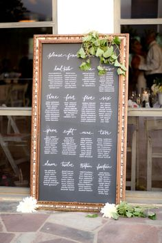 Chalkboard Seating Chart: http://www.stylemepretty.com/little-black-book-blog/2014/09/15/romantic-santa-barbara-wedding/ | Photography: B. Schwartz - http://bschwartzphotography.com/