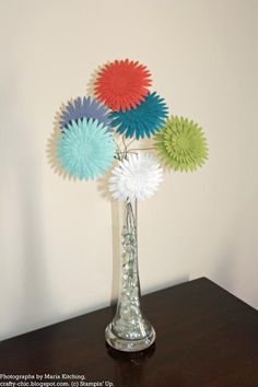 Flower Arrangement using card stock and wire floral stems Paper Flower Arrangements, Paper Flowers Diy, Diy Paper, Paper Art, Paper Crafts, Art Crafts, Crafts To Make, Arts And Crafts, Flower Making