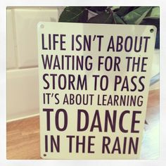 New in metal hanging sign Cream and black Life isn t about waiting for the storm to pass its about waiting for the storm to pass its about learning
