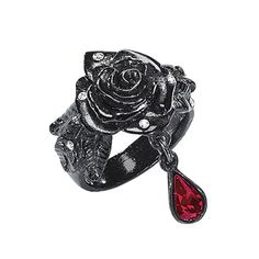 Black Rose Ring - New Age, Spiritual Gifts, Yoga, Wicca, Gothic, Reiki, Celtic, Crystal, Tarot at Pyramid Collection