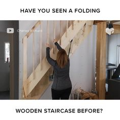 Wooden Staircase Design, Home Stairs Design, Wooden Staircases, Home Room Design, Home Interior Design, House Design, Tiny House Furniture, Space Saving Furniture, Loft Conversion Stairs
