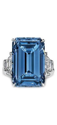 Flawless Blue Diamond, Flawless White Diamonds and Platinum Ring