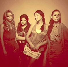Pretty Little Liars behind the scenes Alison Dilaurentis, Aria Montgomery, Emily Fields, and Spencer Hastings