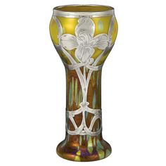 Loetz glass vase with silver overlay, ca. 1900