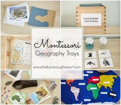 Montessori Geography Trays -- land and water forms, world map, U. map, continent boxes and air/land/sea matching! Montessori Trays, Montessori Homeschool, Montessori Elementary, Montessori Classroom, Montessori Toddler, Montessori Materials, Montessori Activities, Preschool Activities, Homeschooling