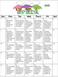 Get your parents involved! FREE calendar for Pre-K