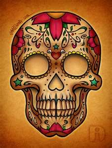 sugar skull- like the thickness of the lines and the stars on the cheek bones