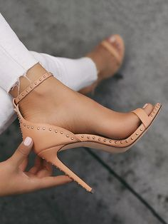 Shop Solid Rivet Embellished Two Part Thin Heeled Sandals right now, get great deals at Joyshoetique.