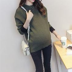 [ 20% OFF ] Womens Maternity Sweaters Wool Maternity Winter Oversized Sweater O-neck Pullovers Korean Pregnant Clothes SYHB