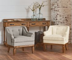 Magnolia Home website - reference source for the pieces being sold beginning March 2016 (shown:  Upholstered Accent Chairs and Sideboard)