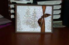 Lovely As A Tree -Dryer sheet Xmas, Elmer's spray glue, fine glitter - beautiful!