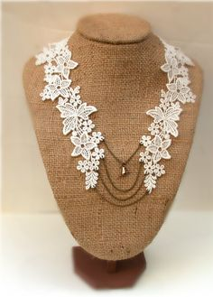 Antique  Lace Cream Necklace Perfect for Bride by roomofyourown, $43.00