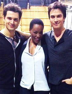 Ian Somerhalder, Sabrina Mayfield and Michael Malarkey on set The Vampire Diaries ,November 25th