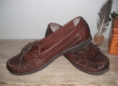 Vintage woven leather Kiltie loafer flats ... 9 W .. soft brown leather ... moccasins via Etsy