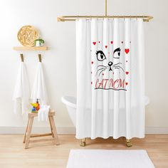 Buy now Bathroom Shower Curtain Cat Design Cat Design, House Design, Bathroom Shower Curtains, Cat Gifts, Your Best Friend, Shower Gifts, Sell Your Art, Cool Cats, Kittens Cutest