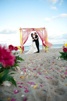 Colorful beach wedding canopy with draperies & flowers in the sand Wedding Images, Wedding Pics, Wedding Events, Dream Wedding, Wedding Dreams, Indian Harbour Beach, Wedding Renewal Vows, Wedding Canopy, Chapel Wedding