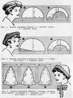 other vintage hat patterns at this Russian site Vintage Sewing Patterns, Clothing Patterns, Hat Patterns, Sewing Tutorials, Sewing Projects, Journal Vintage, Costume Carnaval, 1920s Hats, Funky Hats