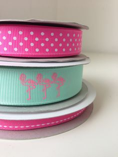 Pink Flamingo grosgrain ribbon Cute Headbands, Pretty And Cute, Pink Flamingos, Grosgrain Ribbon, Ribbons, Dots, Stitches, Grinding