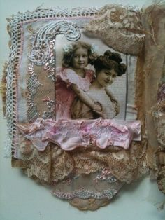 Fabric art journal page inspiration. Vintage photo mother/daughter old laces.