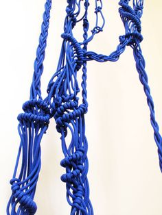 Blue macrame hanging.