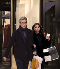 """Grumpy!Twelve has to go shopping with Clara in disguise. Even the TARDIS is disguised as the regular red phone-box (see in reflection ;P) """"""""But why do I have to wear something different, Clara?"""" he..."""