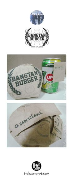 The Bangtan Food Project #8 Bangtan Burger Every A.R.M.Ys favorite burger. Gives you bulletproof energy all day long. Paired up with 7-up (well just because Bangtan has 7 members) and a Fighting...