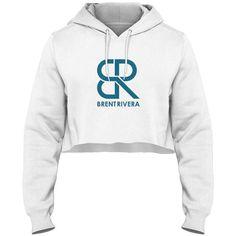 Brent Rivera Signature Logo Crop Hoodie via Polyvore featuring tops, hoodies, cropped hoodie, hooded sweatshirt, white hoodies, logo top and cropped hooded sweatshirt