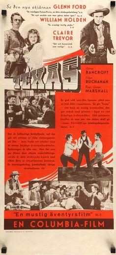 Texas (1941) Vintage Swedish Movie Poster - William Holden & Glenn Ford Western