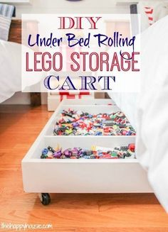 Make your own DIY Under Bed Rolling Lego Storage Cart .also check out the Lego storage organizer - launching soon on Kickstarter Bedroom Organization Diy, Toy Organization, Bedroom Storage, Organizing Ideas, Lego Organizing, Legos, Deco Lego, Toy Storage, Storage Cart