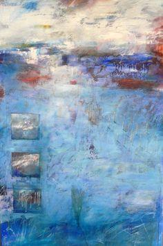 Ton Vroman. Blauw landschap. Het stelt een ruimte voor waarin van alles gebeurd. Het bestaat uit olieverf gemengd met zand, waardoor er een structuur ontstaat. Hoewel het landschap heet is het voor mij een abstract werk.