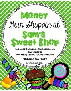 """Money: Goin' Shoppin' FREEBIE! This math game is the perfect way to engage children while practicing the every-day skill of making change and counting coins and bills. Use """"play"""" money for all three rounds of the game. You can do this as a whole class activity, partner activity, or set up centers."""