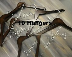 Bridal Party Hangers Wedding Dress Hangers by OriginalBridalHanger  $179.99 Set of 10 Hangers  Click on photo to BUY NOW!  Are you searching for a great gift idea for the bridesmaids in your wedding? Wedding dress hangers make awesome bridesmaid gifts too! They are nice photo props.  Click here: originalbridalhanger.etsy.com to see more!