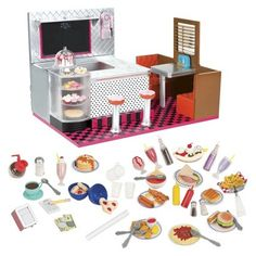 Our Generation Retro Bite To Eat Diner Fits American Girl Doll OG AG NewBattatOur GenerationRetroBite To Eat DinerIncludes lots of Og Dolls, Girl Dolls, Poupées Our Generation, American Girl Doll Sets, American Dolls, Retro Diner, Journey Girls, Plus 4, Mini Things