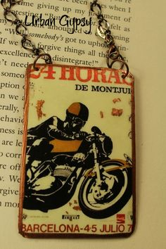 Vintage Image Motor Cycle Poster Barcelona Rear View Mirror Charm Handmade Hanging Ornament Indianapolis Shop by UrbanGypsyIndy on Etsy