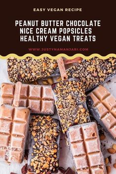 These easy vegan peanut butter chocolate nice cream popsicles are my go-to healthy summer treat. In this gluten-free and paleo recipe, peanut butter popsicles are made from frozen bananas, peanut butter, lucuma and maca powder and then dipped in your favourite vegan chocolate and sprinkled with crushed peanuts. Sugar Free Desserts, Vegan Dessert Recipes, Vegan Sweets, Delicious Vegan Recipes, Delicious Desserts, Vegan Peanut Butter, Chocolate Peanut Butter, Healthy Summer, Healthy Kids