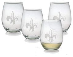 Fleur De Lis Stemless Wine Glasses (Set of 4) contemporary-wine-glasses